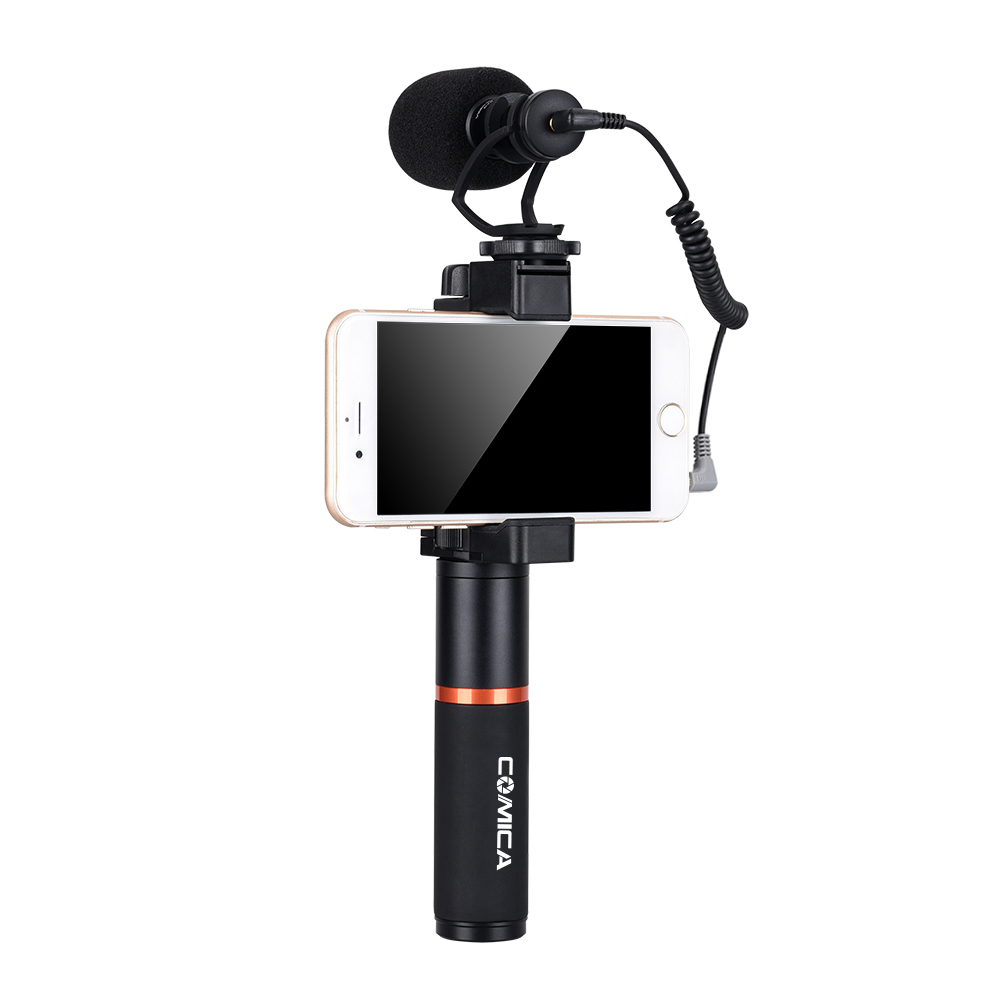 COMICA CVM-VM10 Cardioid Directional Shotgun Selfie Microphone Shock-Mount Grip Video Rig Handle for iPhone Samsung Galaxy Note comica cvm vm10 ii microphone for dji osmo mobile plus smartphone gopro micro camera cardioid directional shotgun microphone