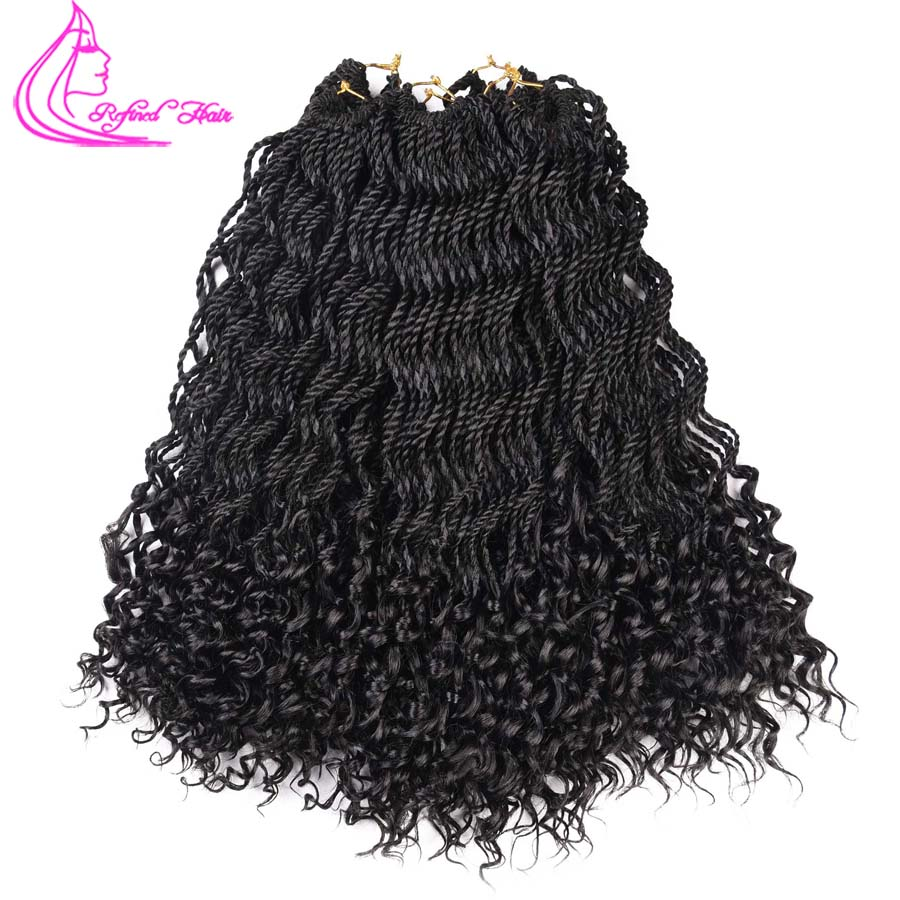 Refined Hair 18Inch 30Roots Free End Curly Crochet Braids Ombre Synthetic Curly Senegalese Twist Crochet Braiding Hair Weave