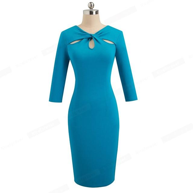 Vintage Elegant Solid Pure Color Hollow Out vestidos Office Work Women Dress