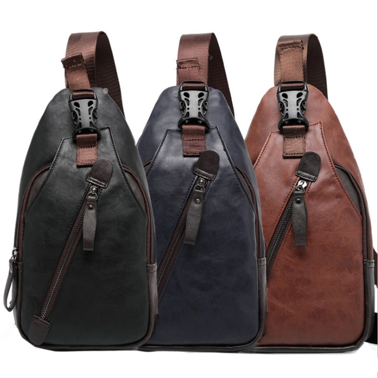 Män PU Läder Sling Pack Bröstväska Cross Body Messenger Skulderväska Mode Casual Packet Travel Riding Ny Hög Kvalitet