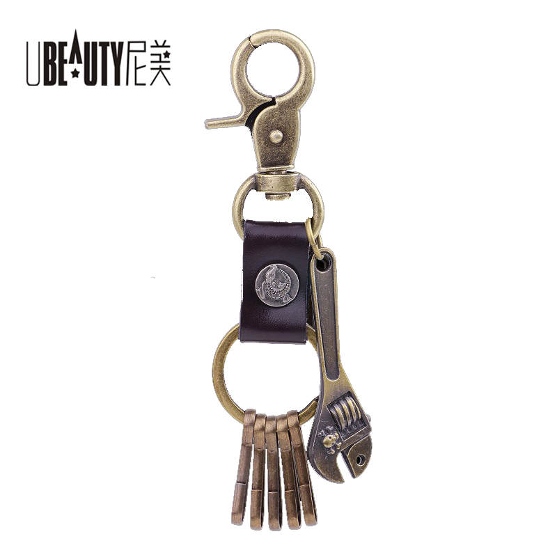 UBEAUTY Man Key ring High Quality Genuine Leather Keychain Mini Spanner Keychain Free shipping For Men Jewelry ..........