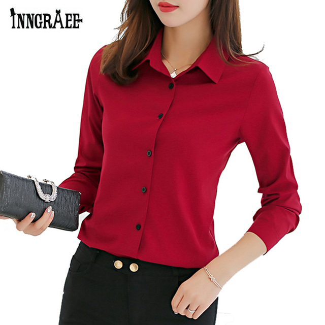 352d4d8ab87 Inngraee 2019 женская шифоновая блузка винно-красная офисная рубашка Женская  рабочая одежда Turn-Down