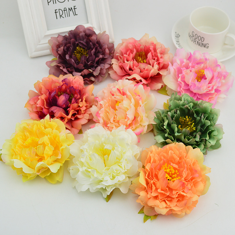 12CM 100pcs cheap Artificial flowers for Christmas wedding home decoration accessories bride s bouquet Silk peony