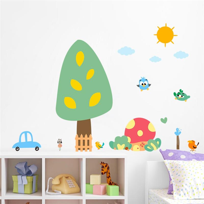 cartoon owl birds tree mushroom house coche pegatinas de pared para nios home decor nursery pvc animales tatuajes