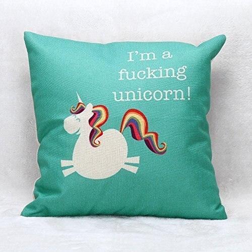 Funda de cojín de unicornio CAMMITEVER funda de almohada decorativa para el hogar funda de cojín de lino sofá funda de almohada de dibujos animados