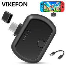 VIKEFON מיני סוג C/USB Bluetooth 5.0 משדר Aptx השהיה נמוכה כפולה קישור אלחוטי אודיו מתאם עבור Nintendo מתג PS4 מחשב