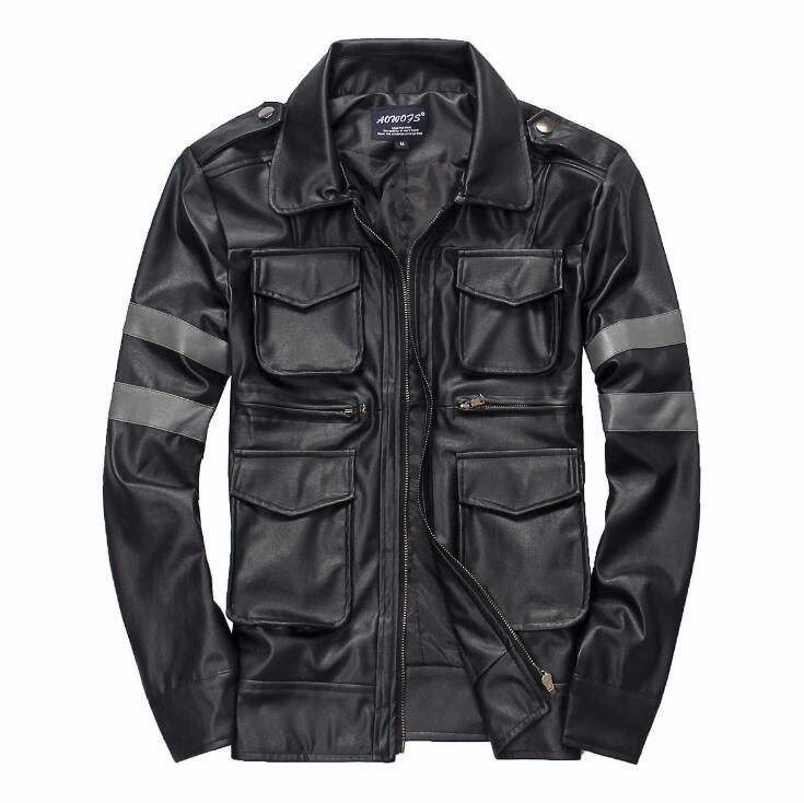 Revers Manteau Automne De Noir Veste Cuir 2019 Manches Hommes Nouvelle Mode  Moto Vestes Slim En ... 923efb0f4f0