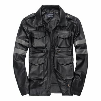 2020 New Autumn and winter Brand men's Leather jackets Men Fashion Slim Long sleeve lapel leather coat Male motorcycle jacket