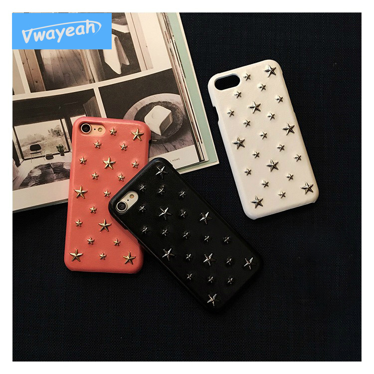 Ins Hot Pu leather With 3D Metal Five-pointed Star Rivet Fashion Personality Case Cover For iPhone X 10 iP 6 6s 7 8 Plus ...