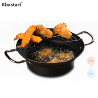 Kbxstart Fryer & Oil Container Fried Container with Filter Shelf  Multi-size Household Frying Pan Pot Cooking Tools Kitchenware