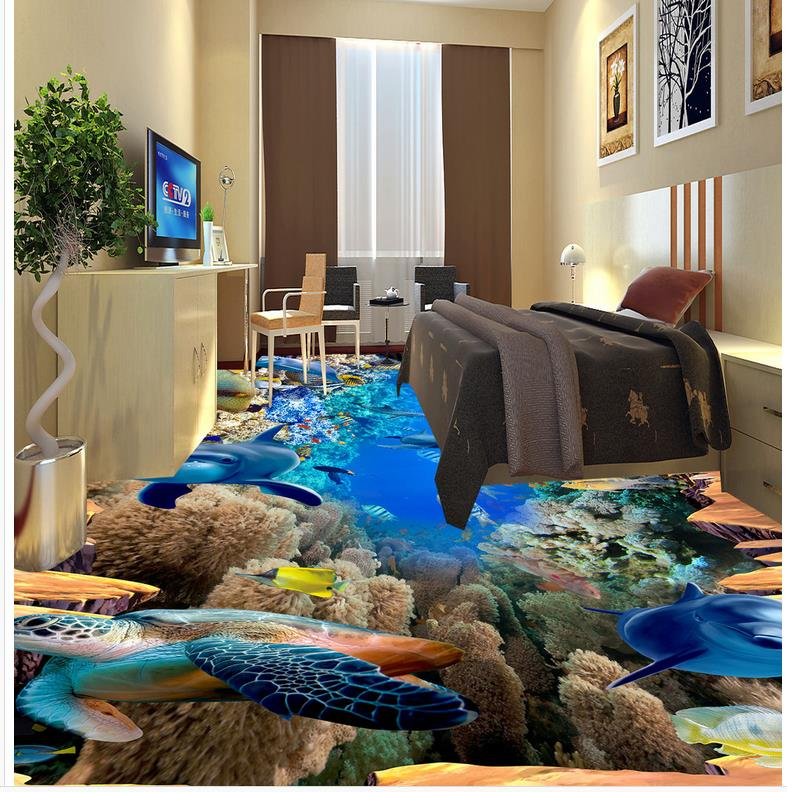 PVC Wall paper self-adhesive Floor mural Marine world dolphins draw floor tiles Modern sticker 3D floor