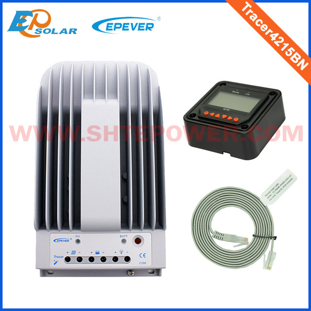EPSOLAR MPPT Solar Charge Controller 40A 12V 24V Tracer4215BN Programmable MPPT Solar Controller With MT50 LCD Remote Display