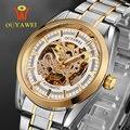 Los Hombres de oro Esqueleto Mecánico Reloj para hombre de Acero Inoxidable reloj automático Transparente Steampunk Montre Homme Reloj de pulsera de Regalo