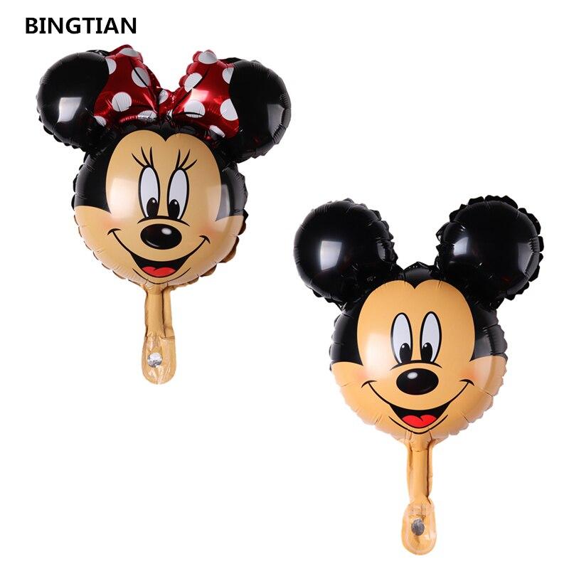 BINGTIAN 1pcs mini Minnie Mickey head balloon Cartoon Birthday Party Wedding decorations childrens toys