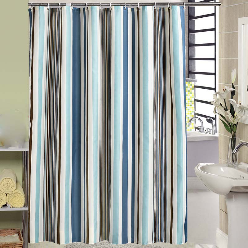 Striped Polyester Bath Shower Curtains Bathroom Curtains with Plastic Hooks Waterproof Shower Curtains Home Decoration