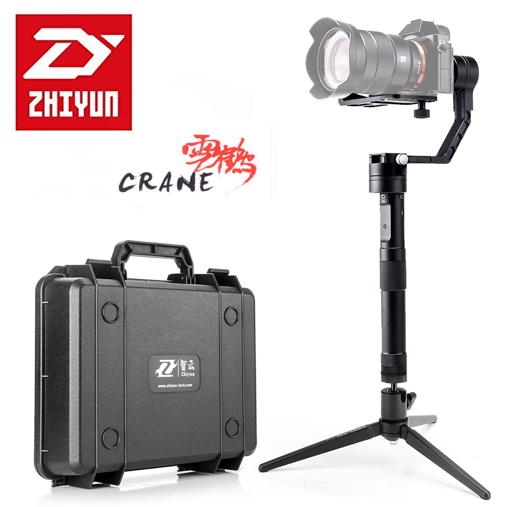 Kit Zhiyun Crane 3-axis Handheld Stabilizer Gimbal for Mirrorless DSLR Camera + Mini Tabletop Tripod + Quick-release Base Plate zhiyun crane 3 axis handheld stabilizer