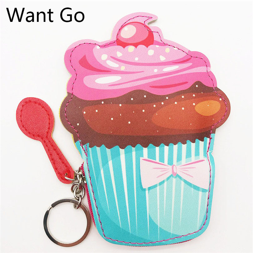 Want Go Preppy Style Girls Coin Purse Cute Cartoon Cake Coin Bag For Kids Student Leather Mini Purse Wallet Portable Key Storage
