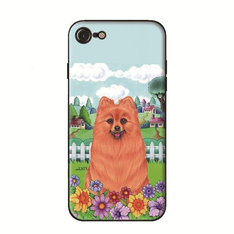 Black Cases Lovely Pomeranian Design TPU Phone Cover For Iphone X 7 8 6 6S Plus 5 5S 7Plus 8Plus