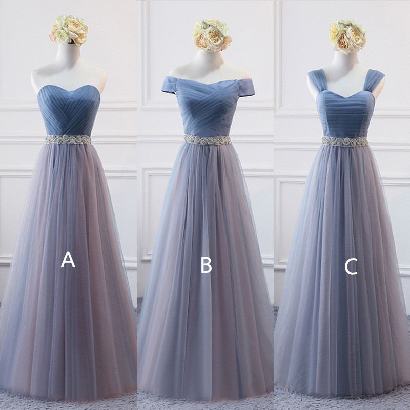 Holievery Tulle Long   Bridesmaid     Dress   with Crystal Sash 2019 Floor Length Wedding Party   Dresses   Lace Up Sukienka Druhna
