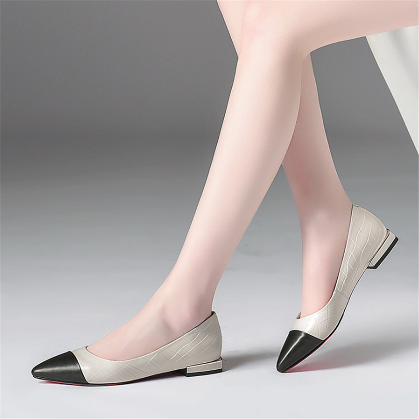 ZOUDKY 2018 new low band girls with low European station sharp pointed feet coloured slacker driving women's shoes