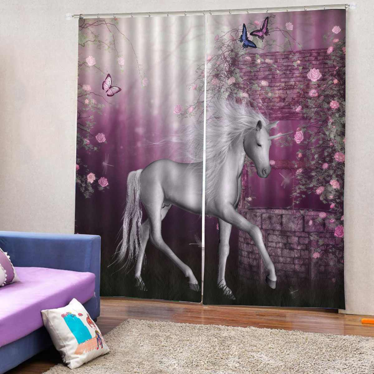 Anti-UV Blackout Curtains 3D Effect Horse Fabric Window Drapes For Living Room Bedroom Purple Curtains Thick Thermal 65