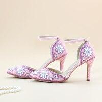 Crystal Shoes Autumn Pink Pearls Princess Sandals White Rhinestone Flowers Sweety Bride Heel Pointed Toe 9 10 Size Spike Heels