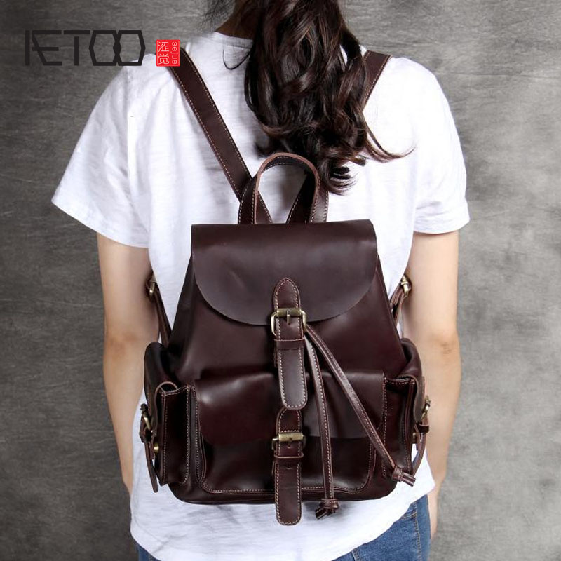 AETOO Wild first layer of leather shoulder bag ladies backpack casual simple handmade original retro classic leather bag wave aetoo first layer of leather shoulder bag female bag korean version of the school wind simple wild casual elephant pattern durab