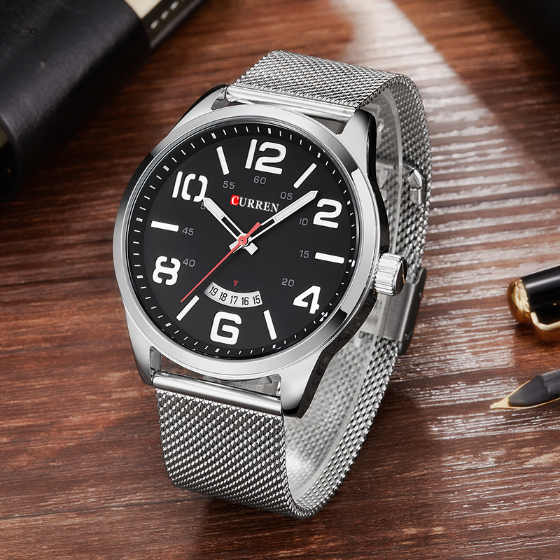2018 Curren Watch Men Brand Luxury Silver Mesh Strap Quartz Watch Men's Fashion Casual Sport Wristwatches Male Waterproof Clock