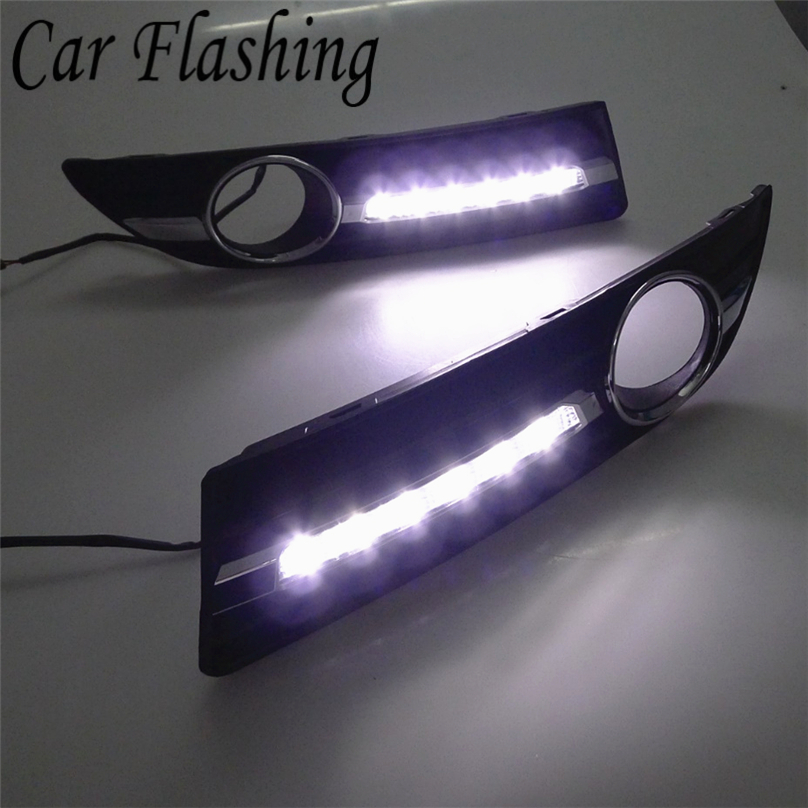 Car Flashing For Volkswagen Polo 9n3 2005 2006 2007 2008 2010 LED DRL Daytime Running Light Driving Daylight lamp car Styling