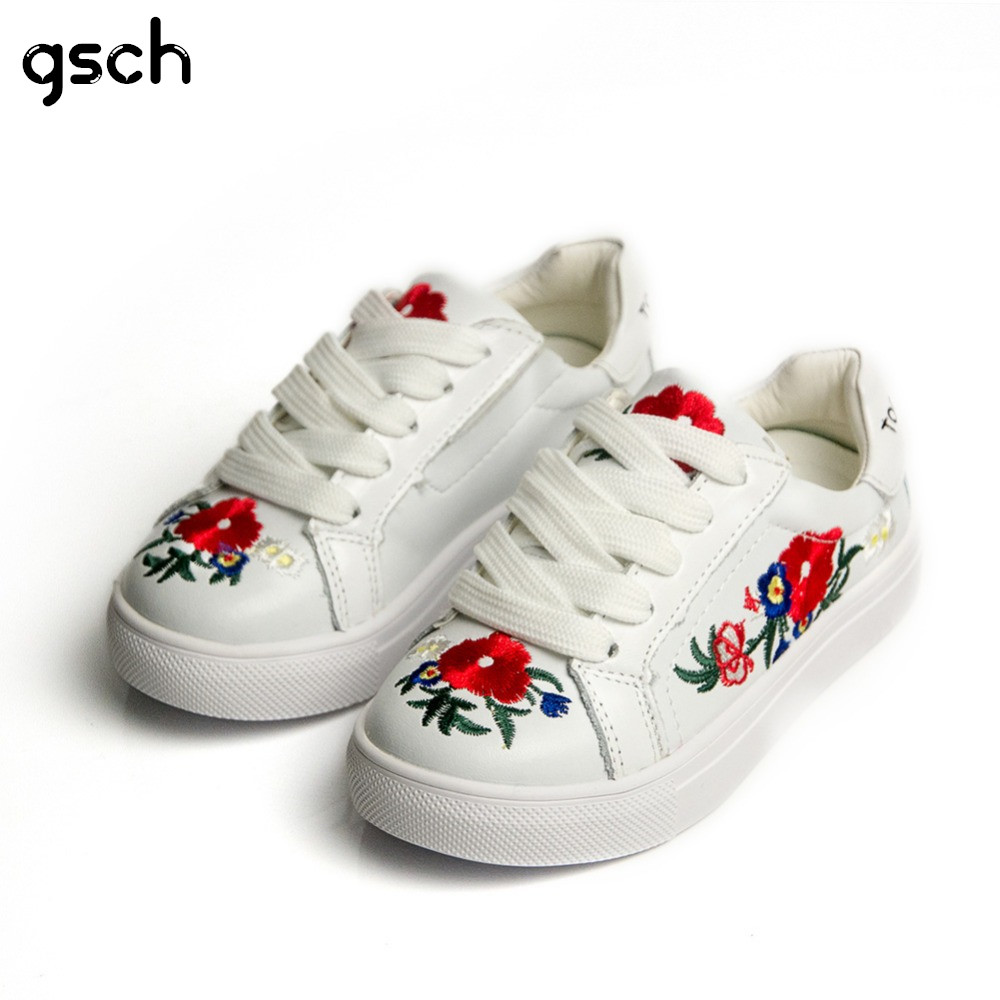 GSCH Baby Girls Sneakers Leather Fashion Flower Children Running Sneakers Kids Casual Sport Shoes Toddler Flat Sneaker chaussure 2016 brand children shoes bebe leather flower patter spliced shoelace girls baby first walkers sneakers shoes tenis bebe kids