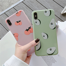 Pink case Soft TPU Phone Case For iphone X XR XS Max 7 8 6 6S Plus 7plus Cover Fruit avocado Patterned Silicone
