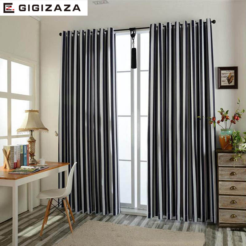 Stripe Jacquard Thermal Fabric Full Black Out Blinds Window Curtains For  Livingroom Light Bedroom Process Custom