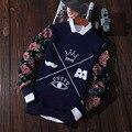 Hoodies Men Autumn National Brand-Clothing Flower Printed Turtleneck Floral One-Neck Sportwear Crown Mens Sweatshirts 2016