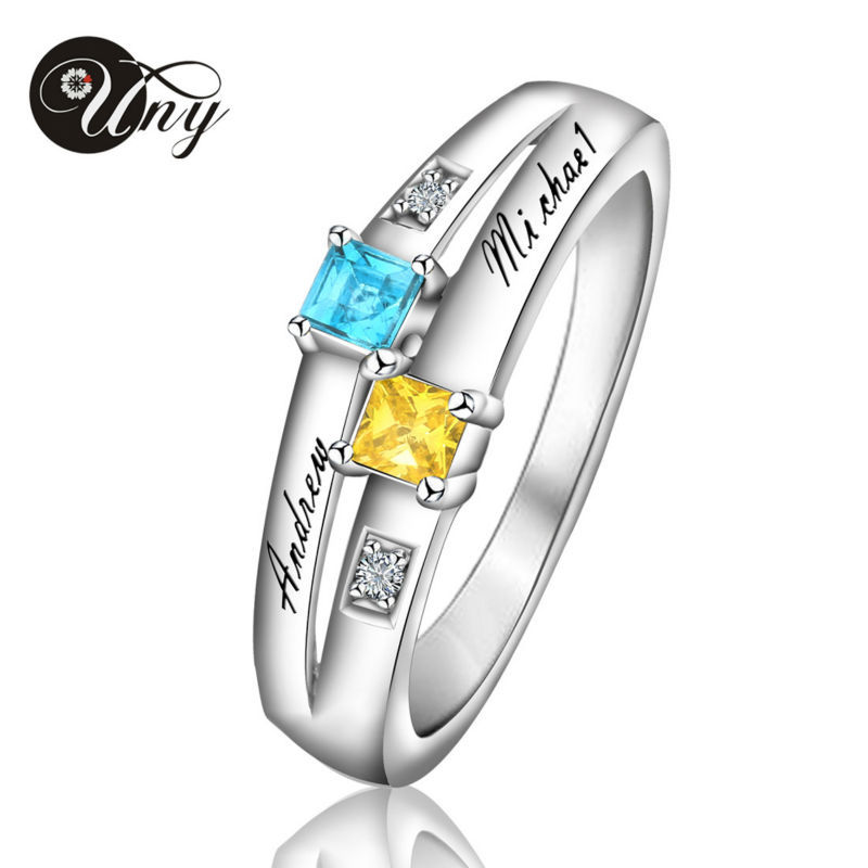 UNY Ring 925 Sterling Silver Customized Engrave Rings Valentine gift Heart Shape Birthstone Ring Personalized Wedding Love Rings