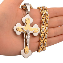 Crosses Pendant Necklaces Silver Gold Color Men Women Jewelry Stainless Steel Chain Catholic Crucifixes Mens Necklace