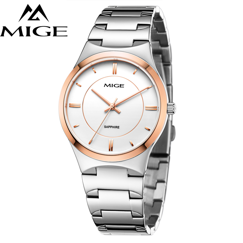 Mige 2017 New Hot Sale Lover Man Watch Rose Gold Case White Casual Ultrathin Waterproof Relogio Masculino Quartz Mans Watches