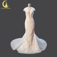 Rhine Real Picture Deep V Neck High quality Mermaid Lace Long Train robe de soiree See Through Sexy Back Bridal Wedding Dresses