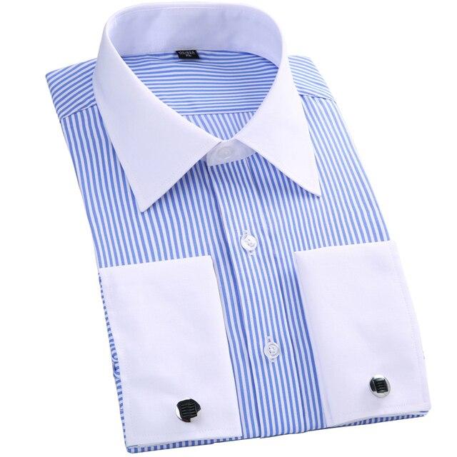 27383a98d11a7e Francuski mankiet przycisk koszula z długim rękawem męskie sukienka koszula  marki wysokiej jakości biznesu formalna koszula
