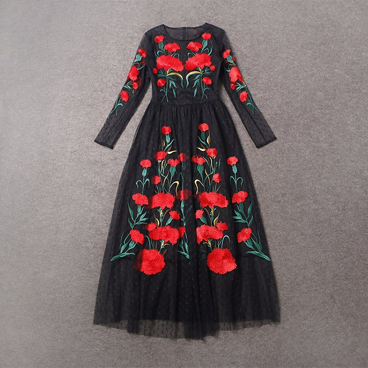 Casual-Dresses-20sh-Carnation-Embroidery-Slim-Black-Long