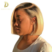 Short Lace Front Human Hair Wigs Natural Color Blonde Ombre 4 Colors Brazilian Remy Hair Bob Wig Free Shipping
