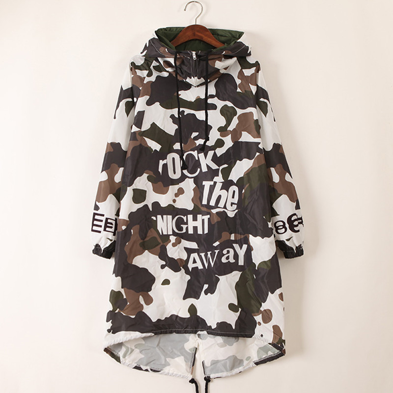 just.be.never women hooded long trech coat autumn green camouflage letter print irregular rock hip hop dance female loose   trench