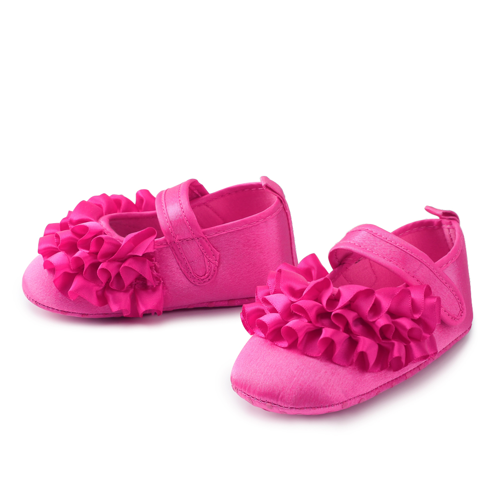 New Born Floral Babies Shoes Solid Shallow Crib Baby Shoes Girls First Walkers Spring Hook & Loop 0-18 Months Shoes