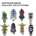 USB Star Wars Pendrive 16 GB USB Flash Drive 32GB R2D2 USB Key Darth Vader Memory Stick Yoda Pen Drive 4G 8G 64G 128GB Pendrive
