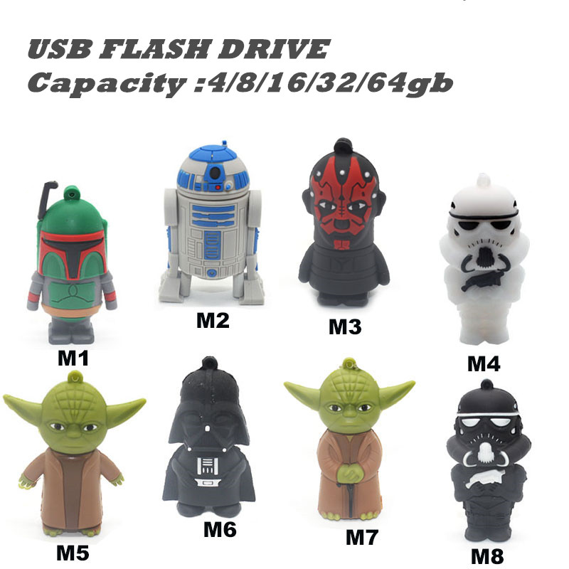 USB Star Wars Pendrive 16 GB USB Flash Drive 32 GB R2D2 USB Key Darth Vader Memory Stick Yoda Pen Drive 4G 8G 64G 8 ფერები