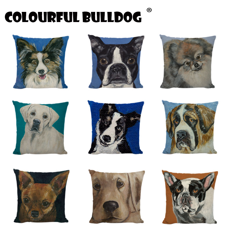 High Quality Dogs Cushion Covers Labrador Black Pugs Pomeranian Printed Home Accessories Decor Sofa French Bulldog Pillow Cases