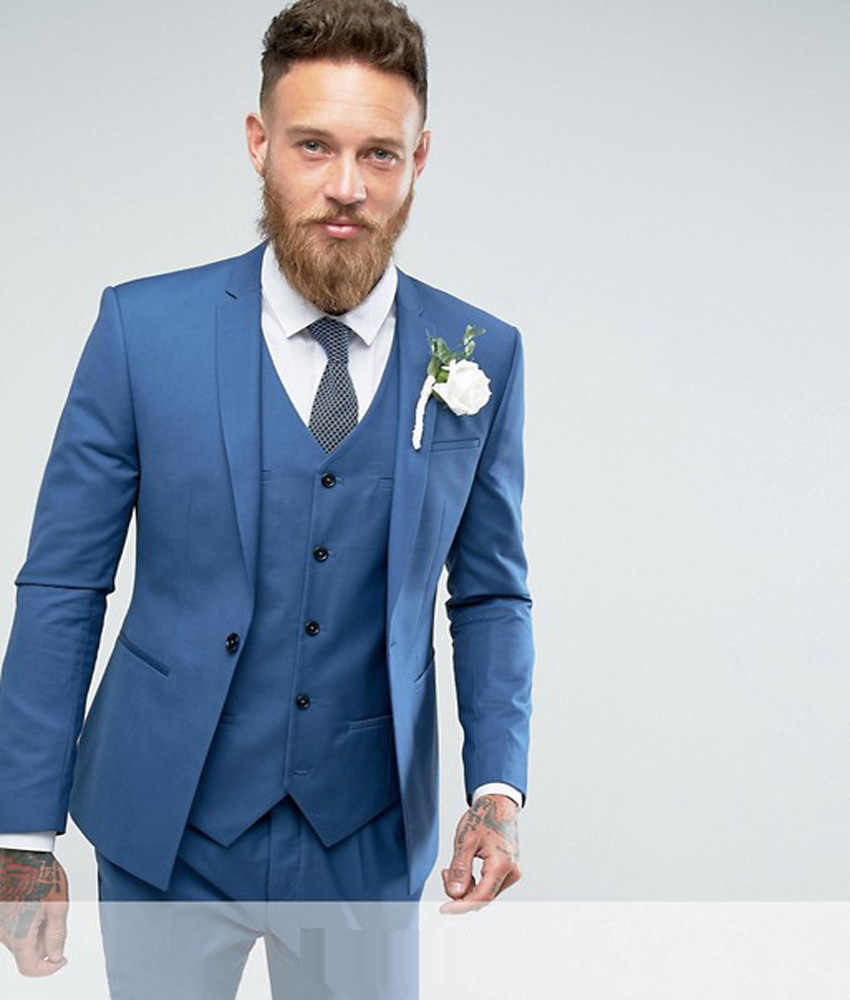 top-rated authentic enjoy free shipping exquisite craftsmanship Skinny Wedding Suit Blue England Suits 2019 Groom Tuxedos ...