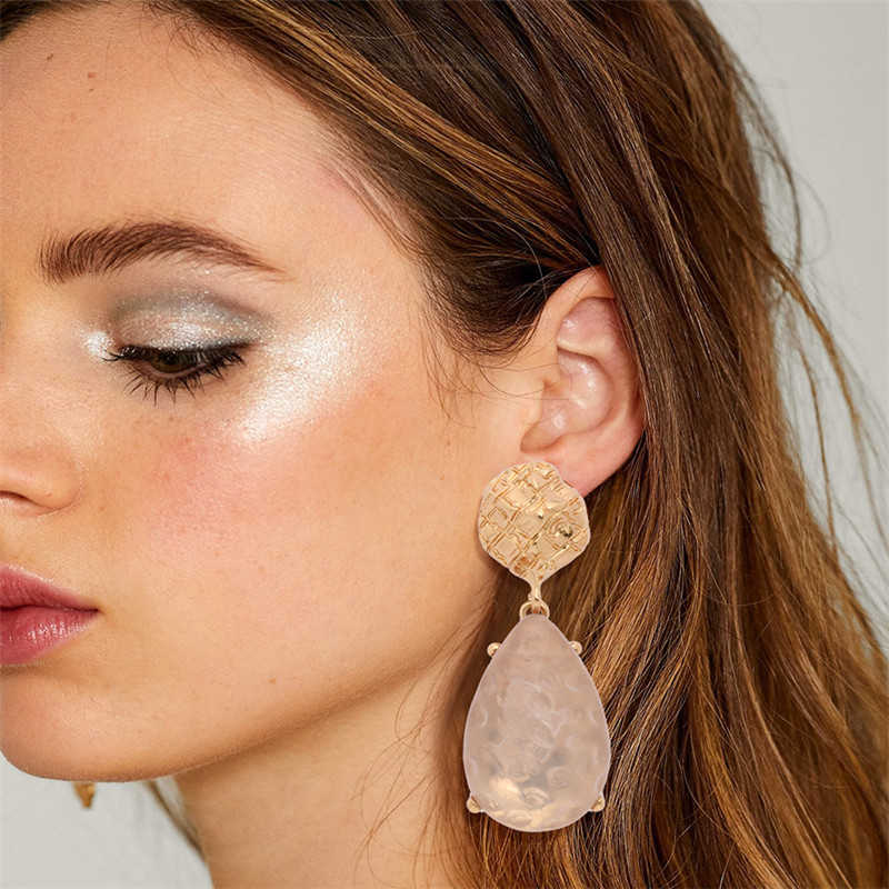 Gold Color Earrings For Women Stone Crystal Za Hanging Earrings Long Party Wedding Earings Fashion Jewelry 2019 Female
