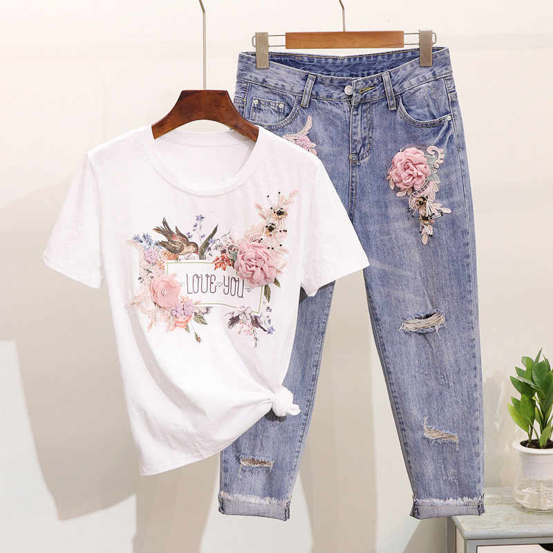 Luosha Для женщин 2019 комплекты летней одежды из 2 предметов стильная вышивка 3D платье с цветочным принтом с короткими рукавами футболка + тяжелая работа Жан rippered рваные джинсовые штаны, костюм