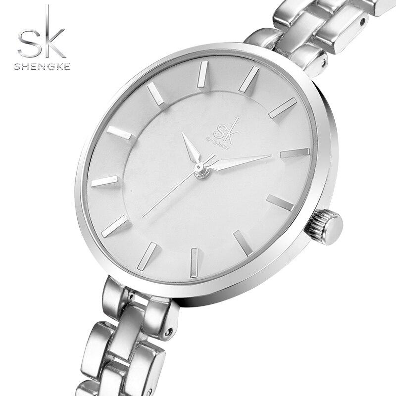 SHENGKE Simple Women Armband Armbandsur Light Extravagant Girls Fashion Genève Quartz Clock Kvinna Luxury Armbandsur 2017
