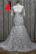 2017 100% Real Mermaid Lace Wedding Dresses Scoop Tull  Appliques Beads Bridal Gown Half Sleeve Vestido De Noiva Robe De Mariage